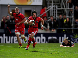 Bristol Rugby replacement Matthew Morgan scores a try  - Photo mandatory by-line: Joe Meredith/JMP - Mobile: 07966 386802 - 27/05/2015 - SPORT - Rugby - Worcester - Sixways Stadium - Worcester Warriors v Bristol Rugby - Greene King IPA Championship