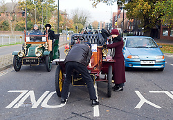 © under license to London News pictures. 07/11/2010 A vintage car broken down in Crawley, West Sussex. Vintage four-wheeled cars, tricars and motor tricycles taking part in the 77th London to Brighton Veteran Car Run (LBVCR) pass through Crawley, West Sussex today (Sun). The world's longest running motoring even, representing 24 nations, takes the extraordinary automobiles on the 60-mile run from Hyde Park in central London to the seafront on the Sussex resort of Brighton.  Photo credit should read: London News Pictures/LNP