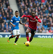 7th April 2018, Ibrox Stadium, Glasgow, Scotland; Scottish Premier League football, Rangers versus Dundee; Glen Kamara of Dundee races away from Alfredo Morelos of Rangers