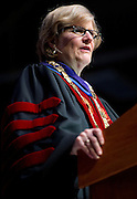 Clayton Spencer speaks during her installation ceremony as the eighth president of Bates College on Friday, October 26, 2012.