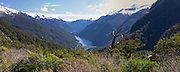 Panoramic view looking westward from Wilmot Pass to Doubtful Sound below, Fiordland National Park, New Zealand; 22 Sept 2012