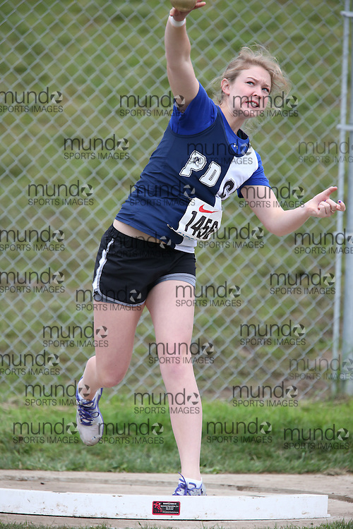 Abby Brandon of Perth and District CI - Perth competes in the midget girls shot put at the 2013 OFSAA Track and Field Championship in Oshawa Ontario, Thursday,  June 6, 2013.<br /> Mundo Sport Images / Sean Burges