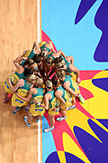 The Australia team huddle before their preliminary round match of the Netball World Cup at Allphones Arena against New Zealand in Sydney, Australia.