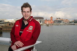 CARDIFF, WALES - Tuesday, March 19, 2013: Wales' goalkeeper Owain Fon Williams poses for a portrait outside the St. David's Hotel ahead of the 2014 FIFA World Cup Brazil Qualifying Group A match against Scotland. (Pic by David Rawcliffe/Propaganda)