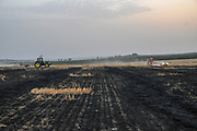 A burnt field caused by Palestinian Kite bombs that were flown from Gaza with a lit petrol soaked cloth, to set fires to Israeli fields and crops. Photographed on May 25, 2018 on the Israel Palestine (Gaza) Border