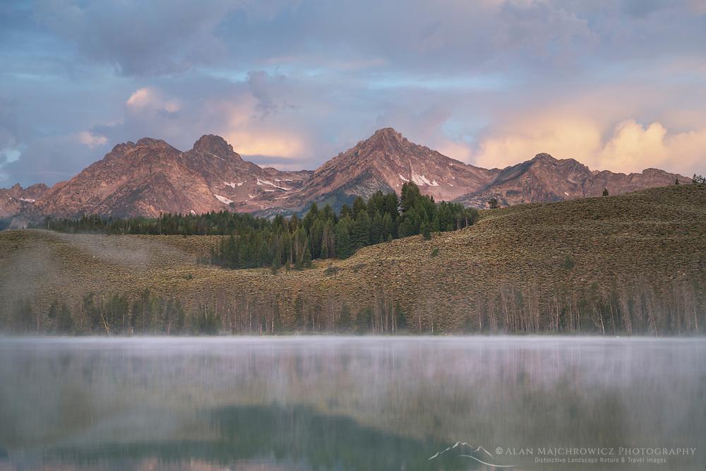Little Redfish Lake at sunrise. Sawtooth Mountains Idaho