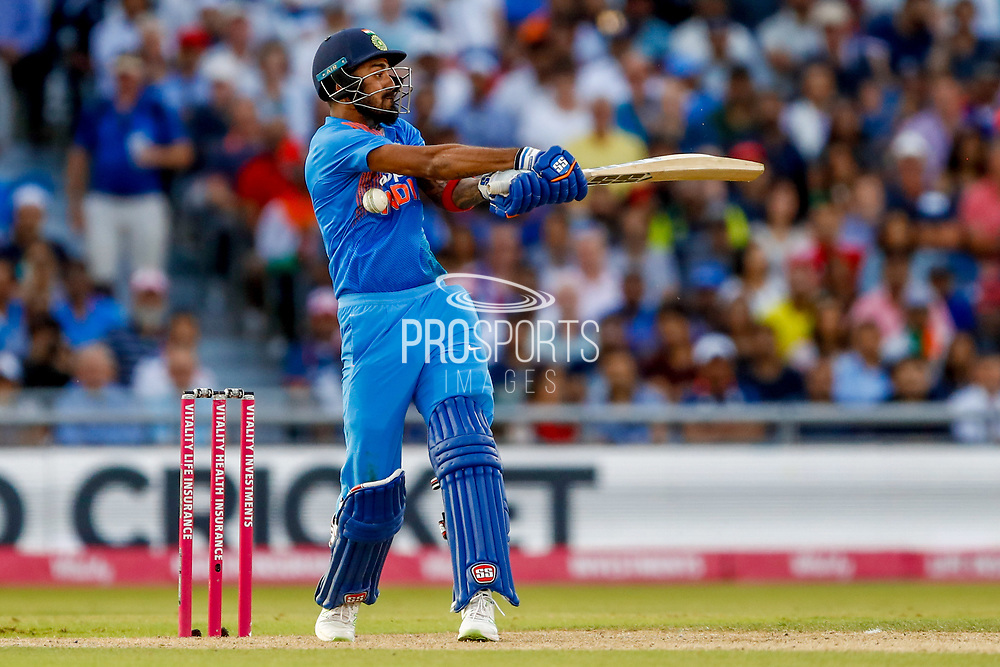 India T20 all rounder KL Lokesh Rahul takes one in the ribs  during the International T20 match between England and India at Old Trafford, Manchester, England on 3 July 2018. Picture by Simon Davies.