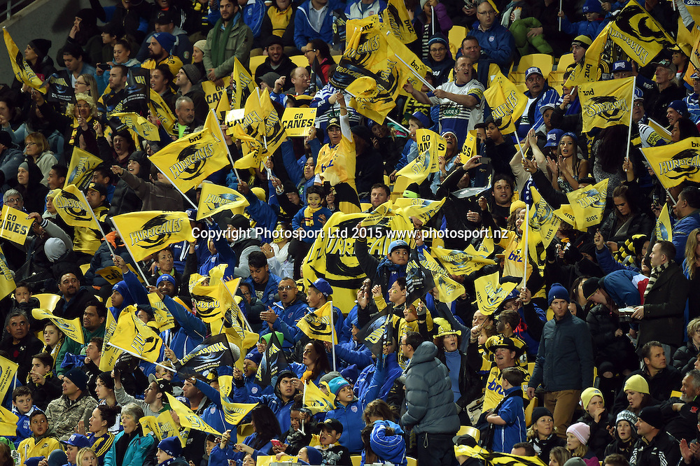 Hurricanes fanes at the Super Rugby Final match between the Hurricanes and Highlanders at Westpac Stadium, Wellington, New Zealand. 4 July 2015. Copyright Photo: Andrew Cornaga / www.Photosport.nz