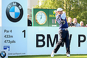 golf professional David Drysdale teeing off on the 1st  during the BMW PGA Championship at the Wentworth Club, Virginia Water, United Kingdom on 26 May 2016. Photo by Simon Davies.
