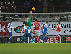 Morecambe's Stewart Drummond takes a shot at goal which is tipped over the bar by Bristol Rovers' Steve Mildenhall - Photo mandatory by-line: Dougie Allward/JMP - Tel: Mobile: 07966 386802 14/12/2013 - SPORT - Football - Morecombe - Globe Arena - Morecombe v Bristol Rovers - Sky Bet League Two