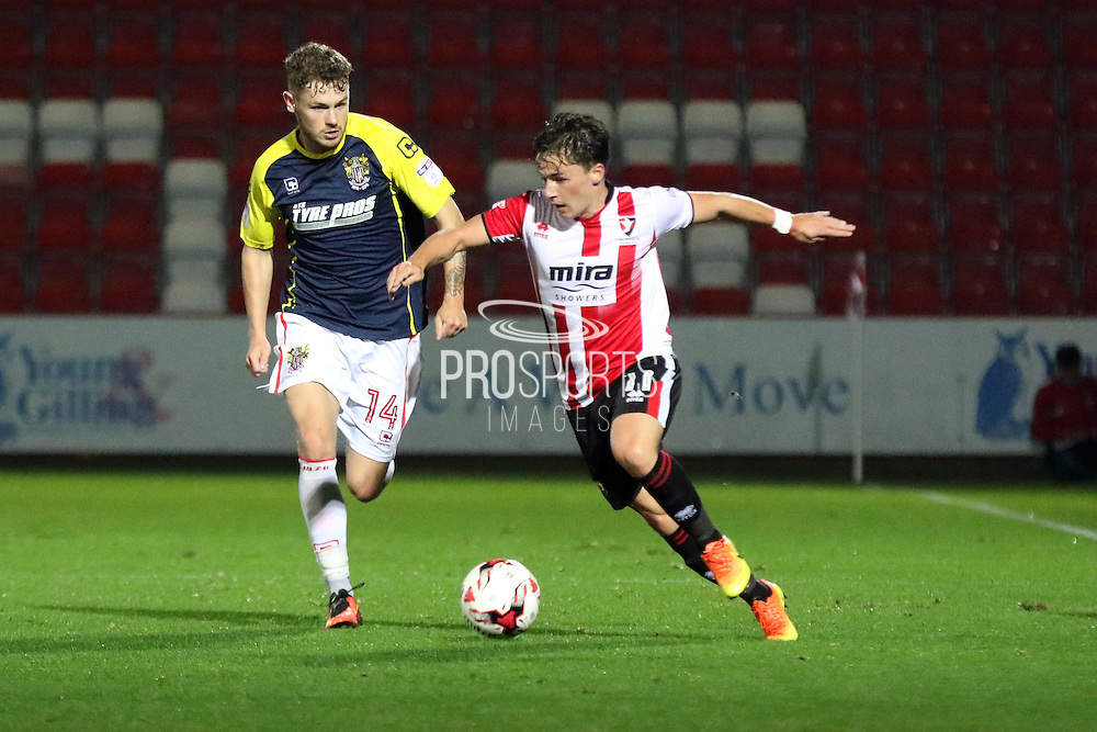 Jack Munns during the EFL Sky Bet League 2 match between Cheltenham Town and Stevenage at Whaddon Road, Cheltenham, England on 27 September 2016. Photo by Carl Hewlett.