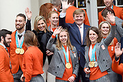 Een groepsfoto van de medaillewinnaars Winterspelen PyeongChang met  koning Willem-Alexander, koningin M&aacute;xima en prinses Margriet bij paleis Noordeinde <br /> <br /> A group photo of the medal winners Winter games PyeongChang with King Willem-Alexander, Queen M&aacute;xima and Princess Margriet at Noordeinde Palace
