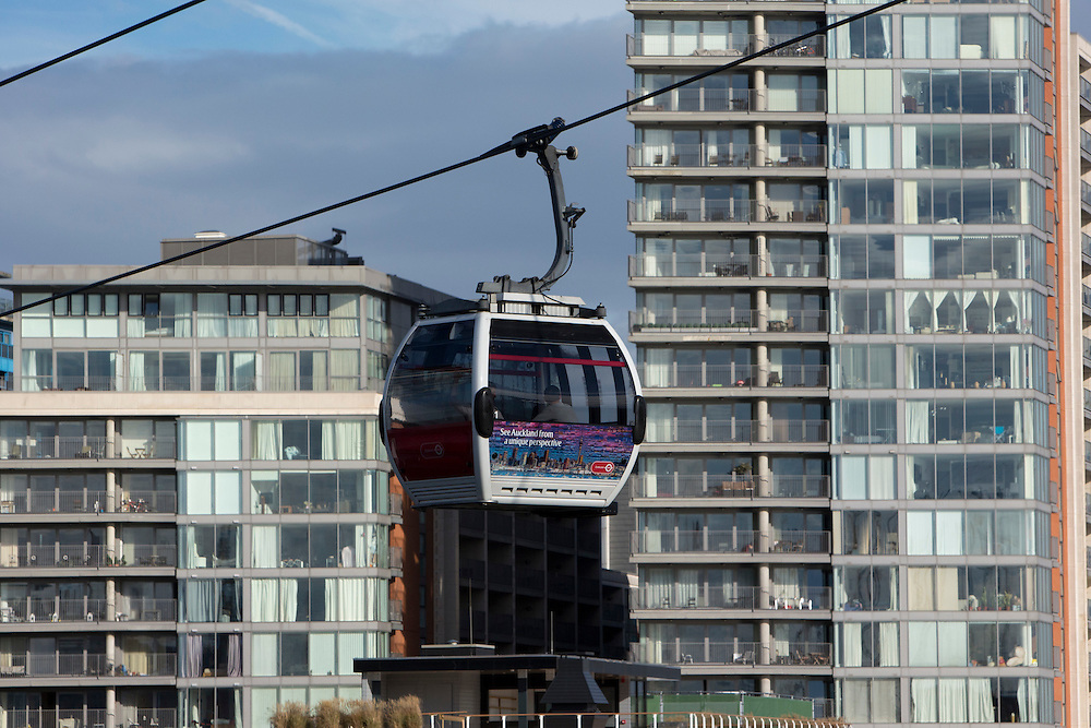 An Emirates Air Line Cable Car passes by residential flats in Royal Victoria Docks London, England, United Kingdom.  The Air Line opened in 2012  and was built by Doppelmayr with sponsorship from the airline Emirates.  (photo by Andrew Aitchison / In pictures via Getty Images)
