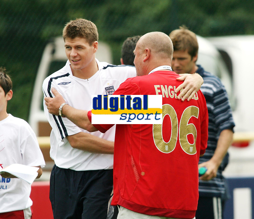 Photo: Chris Ratcliffe.<br />England Training Session. FIFA World Cup 2006. 29/06/2006.<br />Steven Gerrard and Ray Winstone in training.
