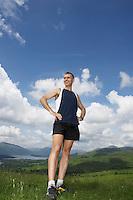Man standing on hillside