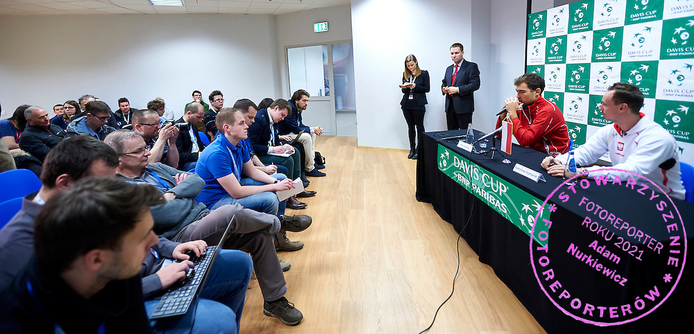 (R) Radoslaw Szymanik - captain national team and (L) Jerzy Janowicz of Poland while press conference during first day the Davies Cup / Group I Europe / Africa 1st round tennis match between Poland and Lithuania at Orlen Arena on March 6, 2015 in Plock, Poland<br /> Poland, Plock, March 6, 2015<br /> <br /> Picture also available in RAW (NEF) or TIFF format on special request.<br /> <br /> For editorial use only. Any commercial or promotional use requires permission.<br /> <br /> Mandatory credit:<br /> Photo by &copy; Adam Nurkiewicz / Mediasport