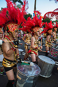 One of many drumming groups that add percussive sounds to the Dream Parade. The Dream Parade is an annual arts carnival and street parade that takes place in Taipei. The event is the brainchild of real estate developer Gordon Tsai who founded the Dream Community after being inspired by simialr events in other parts of the world.