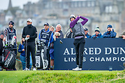 Victor Perez plays his tee shot on the 3rd hole during the final round of the Alfred Dunhill Links Championship European Tour at St Andrews, West Sands, Scotland on 29 September 2019.