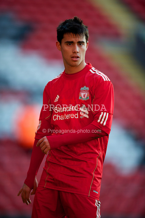 LIVERPOOL, ENGLAND - Saturday, January 8, 2011: Liverpool's 'Suso' Jesus Fernandez Saez in action against Crystal Palace during the FA Youth Cup 4th Round match at Anfield. (Pic by: David Rawcliffe/Propaganda)