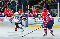 KELOWNA, CANADA - JANUARY 16:  Cody Fowlie #18 of the Kelowna Rockets takes a shot on net against the Spokane Chiefs at the Kelowna Rockets on January 16, 2013 at Prospera Place in Kelowna, British Columbia, Canada (Photo by Marissa Baecker/Shoot the Breeze) *** Local Caption ***