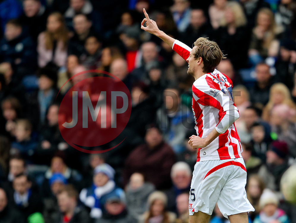 Stoke City's Peter Crouch celebrates after scoring the opening goal  -  Photo mandatory by-line: Matt McNulty/JMP - Mobile: 07966 386802 - 14/02/2015 - SPORT - Football - Blackburn - Ewood Park - Blackburn Rovers v Stoke City - FA Cup - Fifth Round
