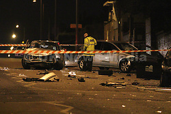 Manchester UK 19.02.2017 Scene on Rochdale Road, Manchester which has been closed all night whilst a forensic examination of the road  took place after an incident involving 4 cars<br /> <br /> 3 Cars can be seen with significant damage on the main road and in a  side street another car can been seen with damage<br /> <br />  A  spokesman for  GMP said  &quot;At  21.49hrs on the 18th police responded to a 4 vehicle RTC on Rochdale Road as a result of that incident  2  people suffered serious injuries and others minor injuries enquiries into the incident are on going&quot;<br /> <br /> A video of the scene can be found here: https://vimeo.com/204729079 ,,