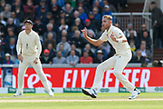 Stuart Broad of England reacts after bowling a delivery to  Matthew Wade of Australia during the International Test Match 2019, fourth test, day two match between England and Australia at Old Trafford, Manchester, England on 5 September 2019.