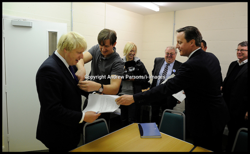 London Mayor Boris Johnson and the Prime Minister David Cameron  during rally in Orpington, London, during the Mayoral Campaign,London, UK,  April 18, 2012. Photo By Andrew Parsons / i-Images.