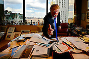 Manhattan, New York, USA, February 19th 2008:   Real Estater, TV entertainer and business entrepreneur Donald Trump at his office in the Trump Headquarter on 56th and 5th on Manhattan...