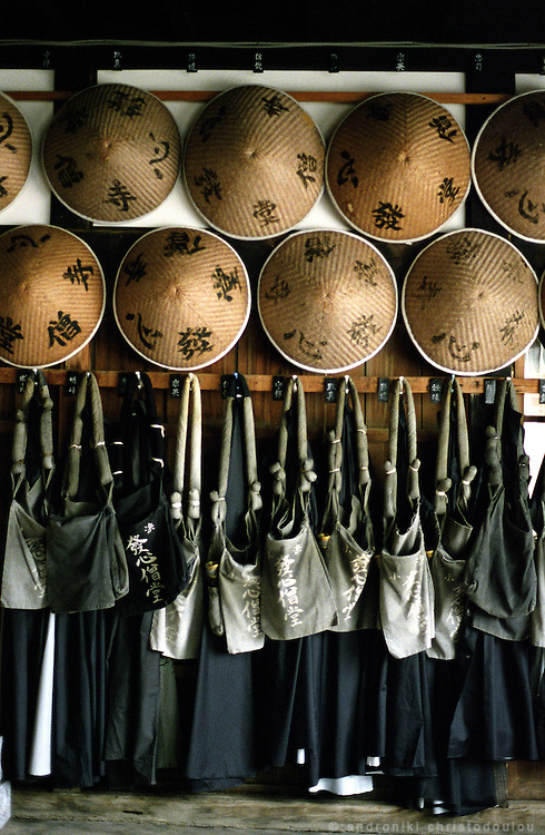 "LIVING ZEN - HOSHINJI MONASTERY, OBAMA-JAPAN..Monk's robes, bags and hats, waiting for them to wear them when they go for ""takuhatsu"". .That is how is called the visit they make to the houses of their community, telling prayers and collecting offerings for the monastery."