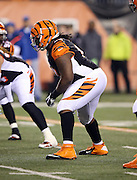 Cincinnati Bengals defensive tackle Pat Sims (92) gets set for the snap during the NFL AFC Wild Card playoff football game against the Pittsburgh Steelers on Saturday, Jan. 9, 2016 in Cincinnati. The Steelers won the game 18-16. (©Paul Anthony Spinelli)