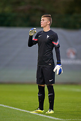 NEWPORT, WALES - Thursday, September 25, 2014: France's goalkeeper Thomas Chesneau in action against Wales during the Under-16's International Friendly match at Dragon Park. (Pic by David Rawcliffe/Propaganda)