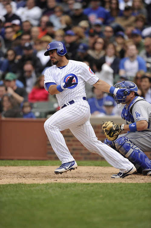 CHICAGO - MAY  04:  Geovany Soto #18 of the Chicago Cubs bats against the Los Angeles Dodgers on May 4, 2012 at Wrigley Field in Chicago, Illinois.  The Cubs defeated the Dodgers 5-4.  (Photo by Ron Vesely)   Subject:  Geovany Soto