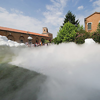 VENICE, ITALY - JUNE 02:  Suspended clouds by Chinese artist Cai Zhisong are surrounded by fog created by artist Yuan Gong are seen outside the Chinese Pavillion on June 2, 2011 in Venice, Italy.