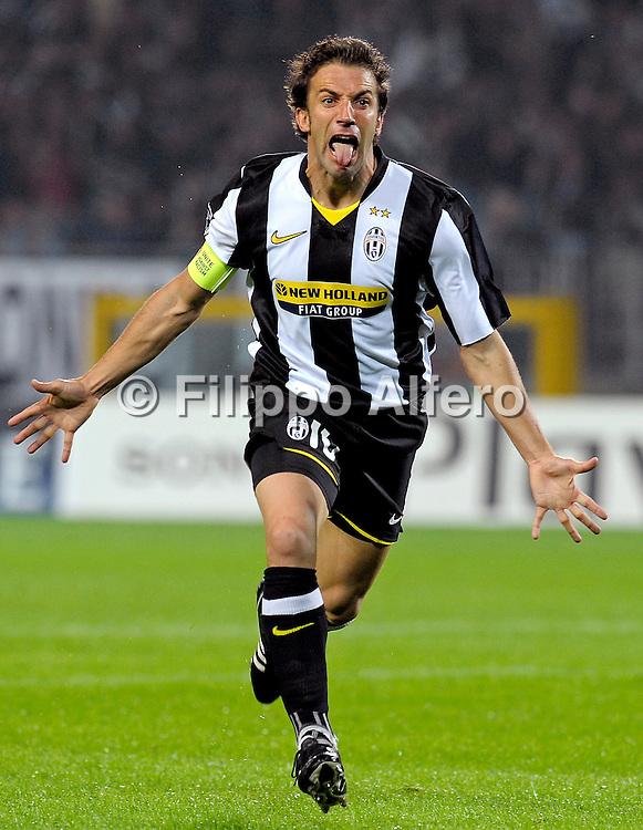 &copy; Filippo Alfero<br /> Torino , 21/10/2008<br /> sport , calcio<br /> UEFA Champions League 2008 / 2009 - Juventus vs Real Madrid<br /> Nella foto: esultanza Del Piero gol 1-0<br /> <br /> &copy; Filippo Alfero<br /> Turin , Italy , 21/10/2008<br /> soccer<br /> UEFA Champions League 2008 / 2009 - Juventus vs Real Madrid<br /> In the photo: Del Piero celebrates his 1-0 goal