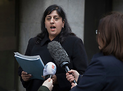 © Licensed to London News Pictures. 12/12/2016. London, UK. Baljit Ubhey, Chief Crown Prosecutor, talks to reporters after Stefano Brizzi was sentenced to serve a minimum of 24 years in jail for the murder of PC Gordon Semple. Brizzi was arrested after the remains of PC Semple were found in his flat in Southwark in April 2016. Photo credit: Peter Macdiarmid/LNP
