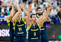 Vlatko Cancar of Slovenia, Goran Dragic of Slovenia celebrate after winning during basketball match between National Teams of Finland and Slovenia at Day 3 of the FIBA EuroBasket 2017 at Hartwall Arena in Helsinki, Finland on September 2, 2017. Photo by Vid Ponikvar / Sportida