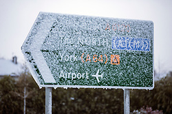 © Licensed to London News Pictures. 29/04/2016. Leeds UK. Picture shows snow covered road sign's this morning. Leeds woke to a covering of snow this morning & is expected to get further snow showers over the weekend. Photo credit: Andrew McCaren/LNP