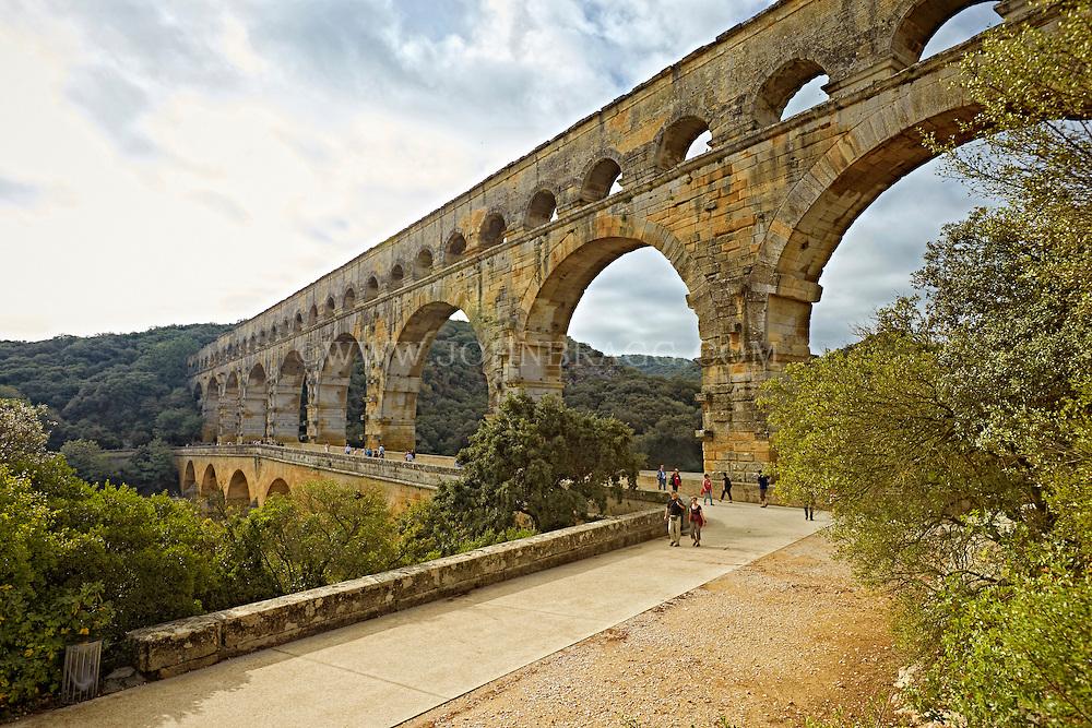 View of Pont du Gard (Roman Aqueduct), the second highest standing Roman structure, Vers-Pont-du-Gard, France.