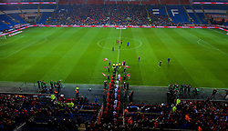 CARDIFF, WALES - Tuesday, November 14, 2017: Wales and Panama players walk out before the international friendly match between Wales and Panama at the Cardiff City Stadium. (Pic by Peter Powell/Propaganda)