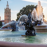 J.C. Nichols Fountain in Mill Creek Park, Country Club Plaza district of Kansas City, Missouri. The fountain underwent repairs and renovation in 2015. Photo set taken for JE Dunn Construction.