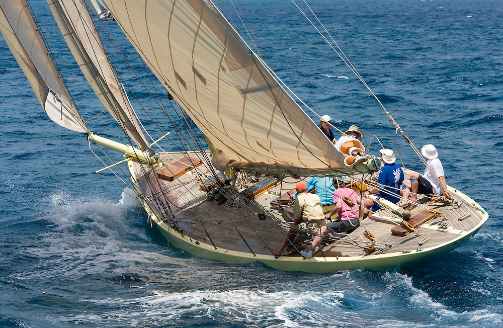 The gaff rigged cutter whose name is SY Kate sailing during the 2008 Antigua Classic Yacht Regatta . This race is one of the worlds most prestigious traditional yacht races. It takes place annually off the coast of Antigua in the British West Indies.