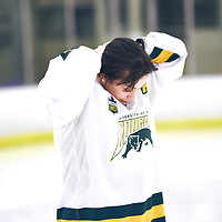 5th year defender, Nikki Watters-Matthes (14) of the Regina Cougars during the Women's Hockey Home Game on Sat Feb 02 at The Co-operators Arena. Credit: Arthur Ward/Arthur Images