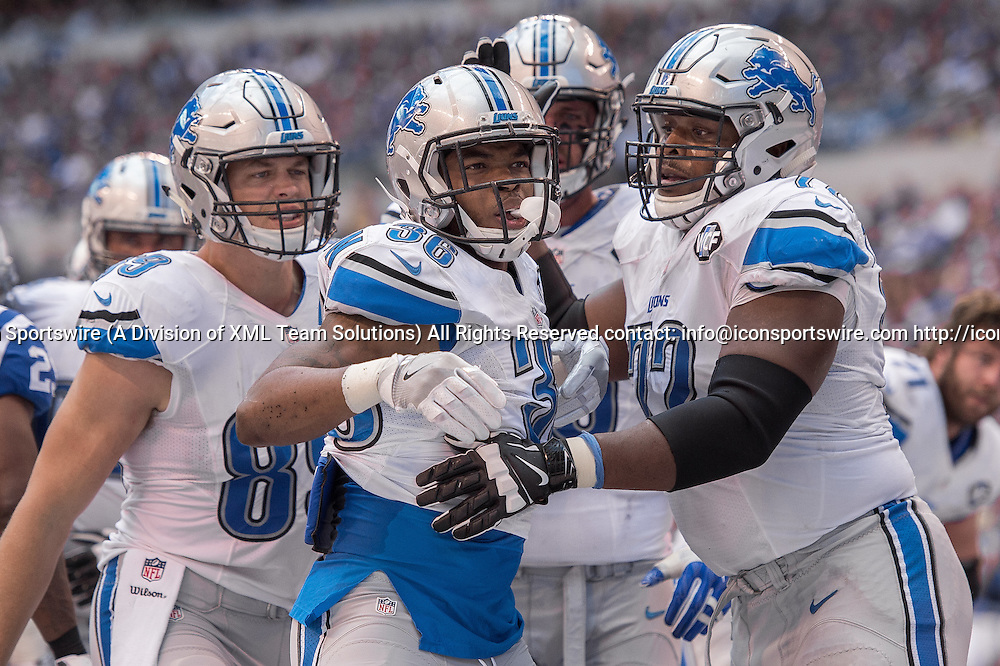 September 11, 2016: Detroit Lions running back Dwayne Washington (36) celebrates a touchdown during the week 1 NFL game between the Detroit Lions and Indianapolis Colts at Lucas Oil Stadium in Indianapolis, IN.  (Photo by Zach Bolinger/Icon Sportswire)