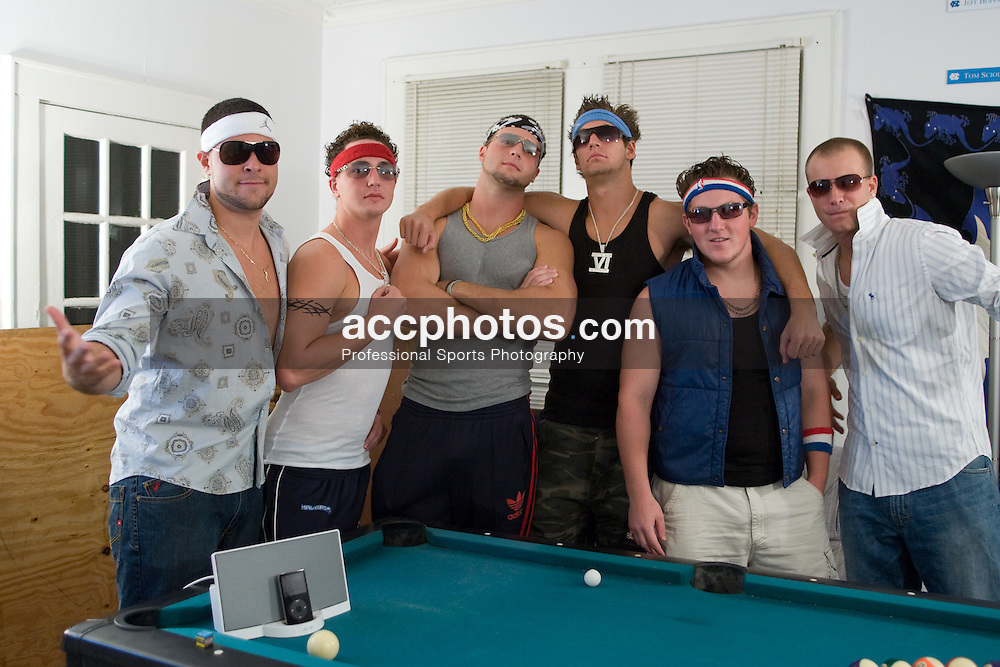 22 September 2007: North Carolina Tar Heels men's lacrosse members Chris Cortina, Matthias McCall, Jack Ryan, Ben Hunt, Shane Walterhoefer and unknown dressed up for a Guido Party in Chapel Hill, NC.