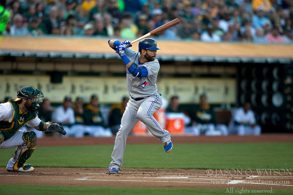 OAKLAND, CA - JULY 05:  Jose Bautista #19 of the Toronto Blue Jays at bat against the Oakland Athletics during the first inning at O.co Coliseum on July 5, 2014 in Oakland, California. The Oakland Athletics defeated the Toronto Blue Jays 5-1.  (Photo by Jason O. Watson/Getty Images) *** Local Caption *** Jose Bautista