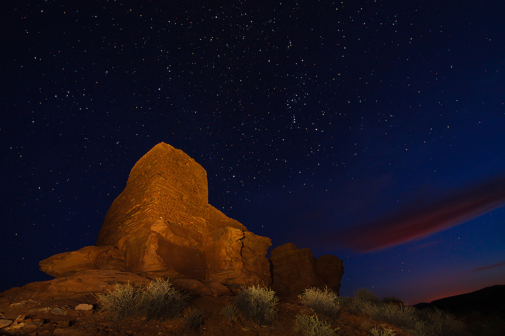 A star-filled sky above Wukoki Pueblo at Wupatki National Monument in Arizona.