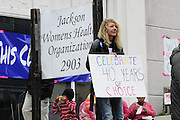 "1/22/13/  Jackson MS -Pictured are supporters of the Pro-Choice movement and the Jackson Women's Health Organization on the 40th Anniv. of Roe-v-Wade. Governor Bryant is attempting to close the clinic by making strict laws for the clinic and having the doctors have admitting privileges at local hospitals. The clinic is unable to comply with State law and is fighting to stay open. Governor Phil Bryant joins the PLAN (Pro Life America Network) and speaks at the Mississippi State capital in support of his Pro Life agenda on the 40th Anniversary of Roe-v-Wade. Governor Bryant asked  for people to ""pray for the unborn babies"" and Bryant is pushing hard to close the States only operating Abortion Clinic. Photo© Suzi Altman"
