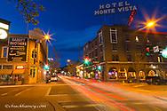 San Francisco Street at dusk in historic downtown Flagstaff, Arizona, USA