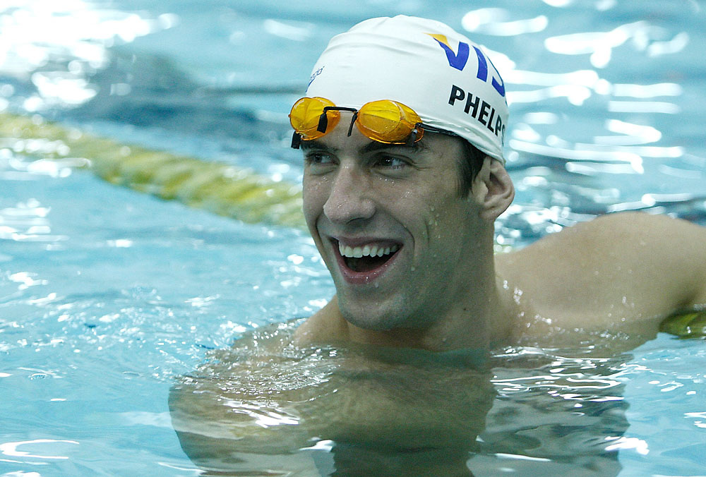 Olympic gold medalist Michael Phelps mentors young swimmers following the press conference announcing the Visa Grant for Early Swimming Program which was announced on August 28, 2008 at the McBurney YMCA in New York City.